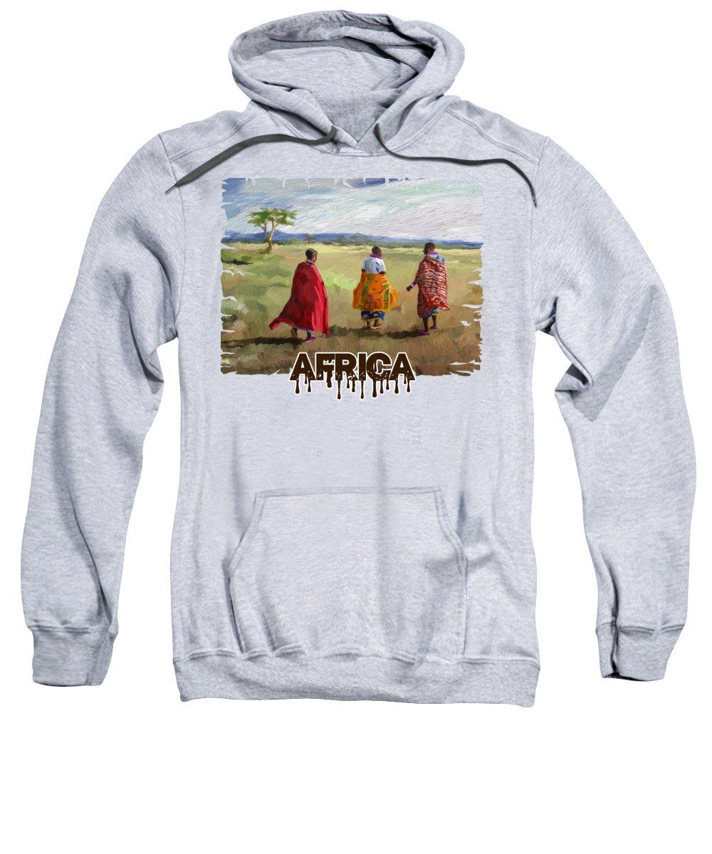 Print Sweatshirt featuring the painting The Long Walk by Anthony Mwangi