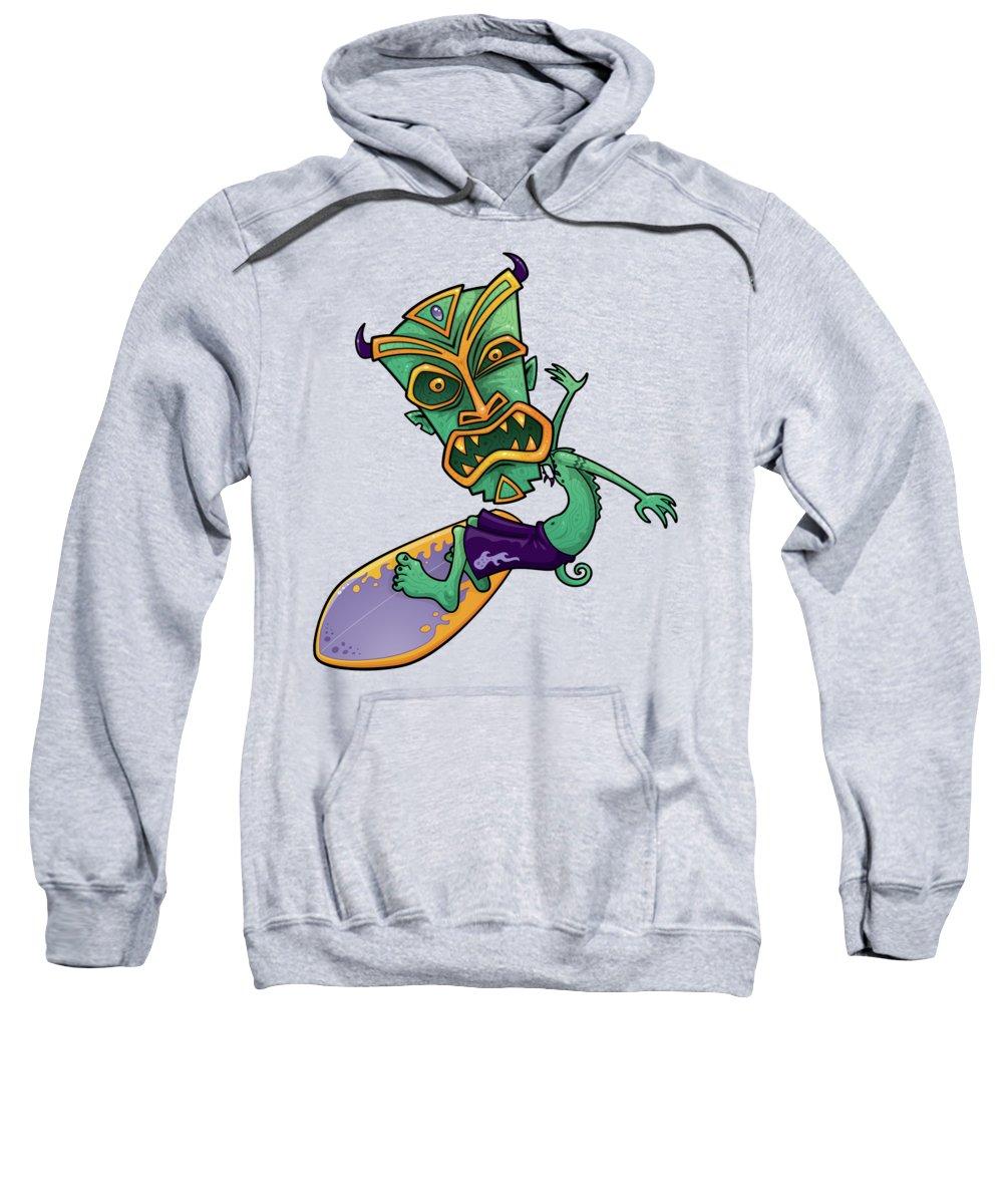 Shark Sweatshirt featuring the digital art Tiki Surfer by John Schwegel