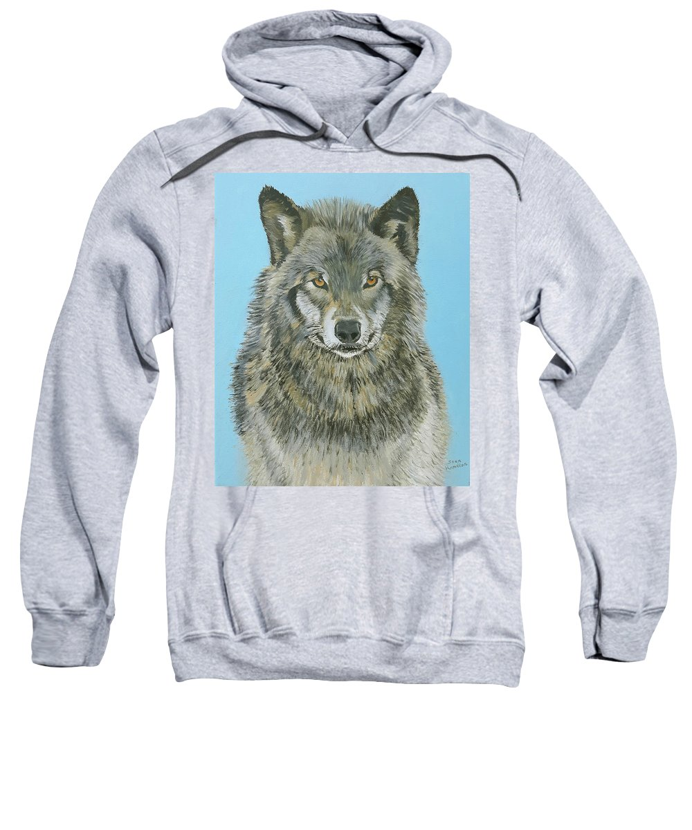 Timber Wolf Sweatshirt featuring the painting Timber Wolf 4 by Stan Hamilton