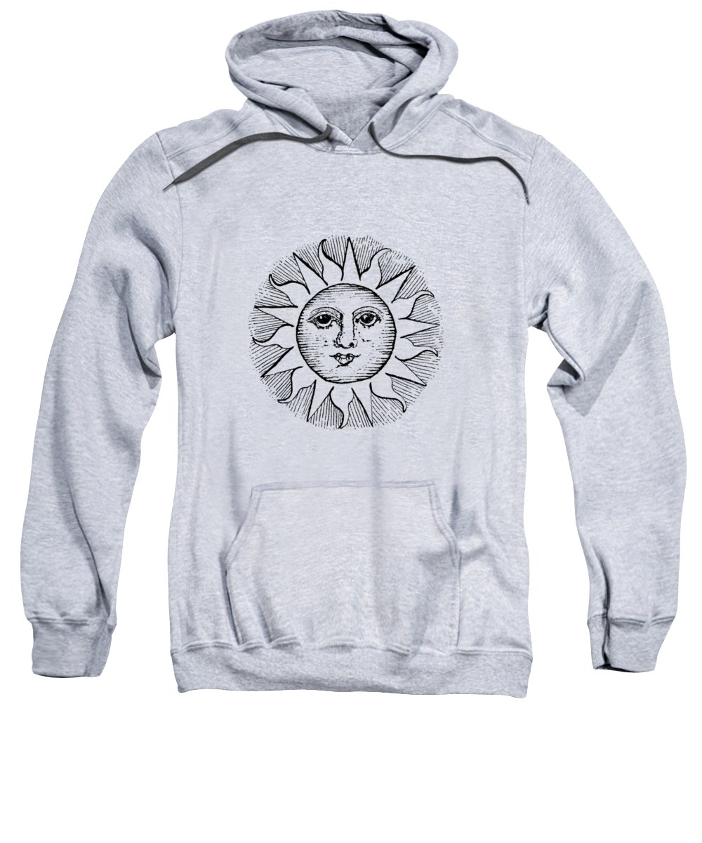 Drawing Sweatshirt featuring the drawing Vintage Celestial Sun Face by Kaleigh Day
