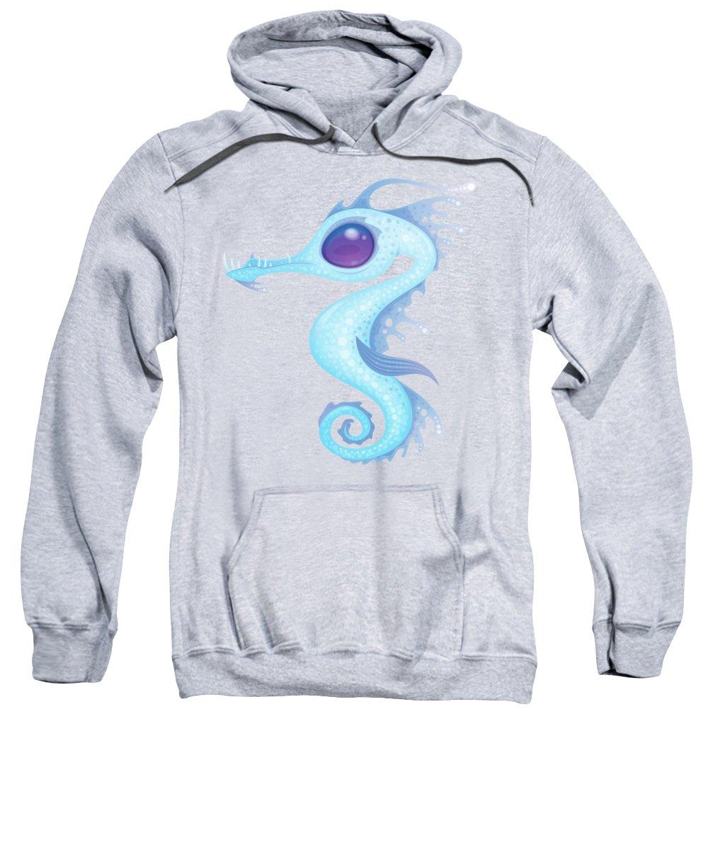 Ocean Sweatshirt featuring the digital art White Sea Dragon by John Schwegel
