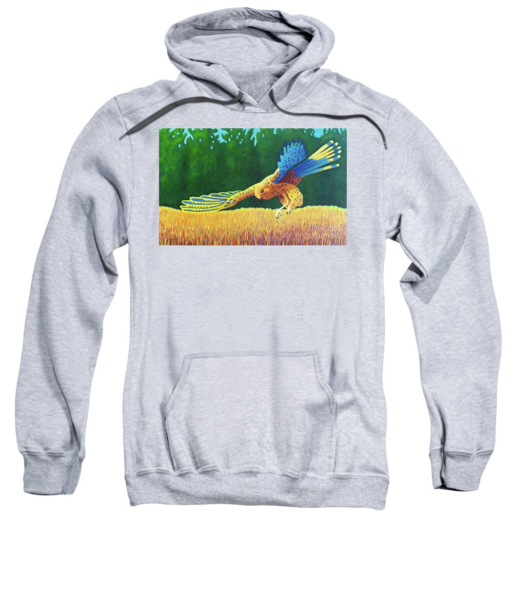 Hawk Sweatshirt featuring the painting With These Wings by Brian Commerford