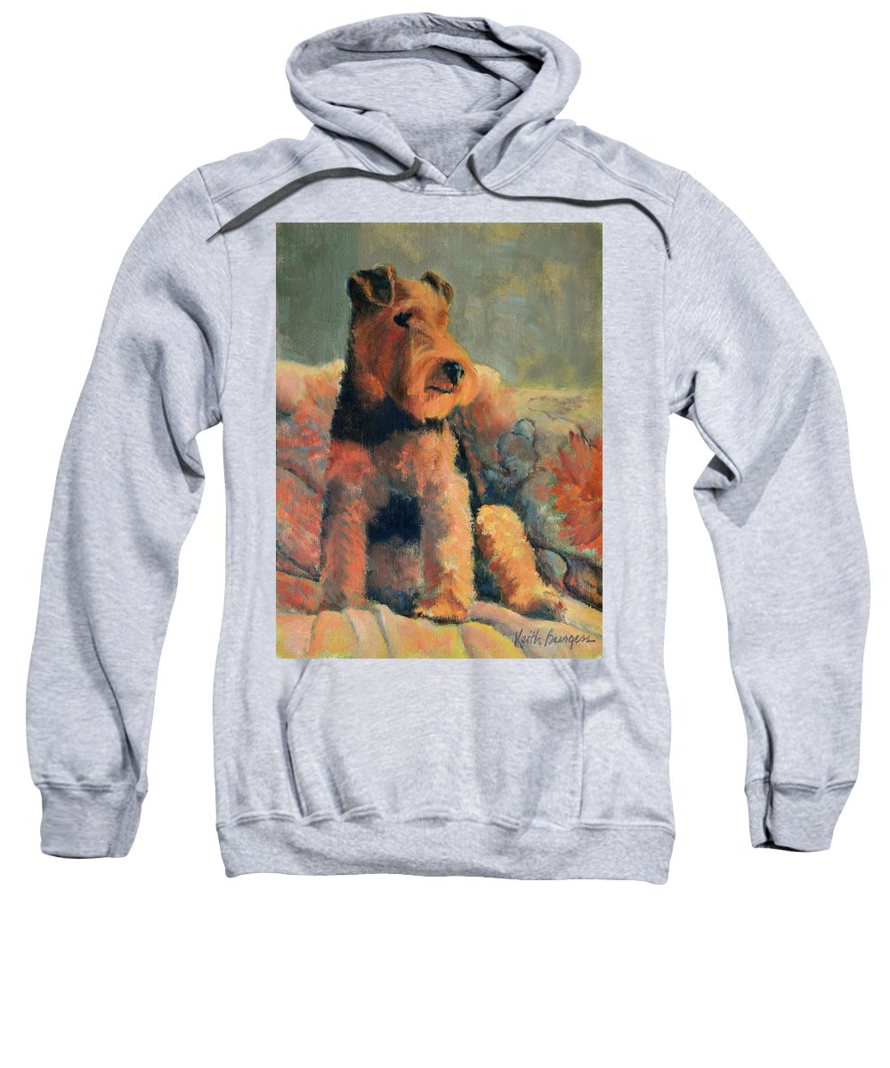 Pet Sweatshirt featuring the painting Zuzu by Keith Burgess