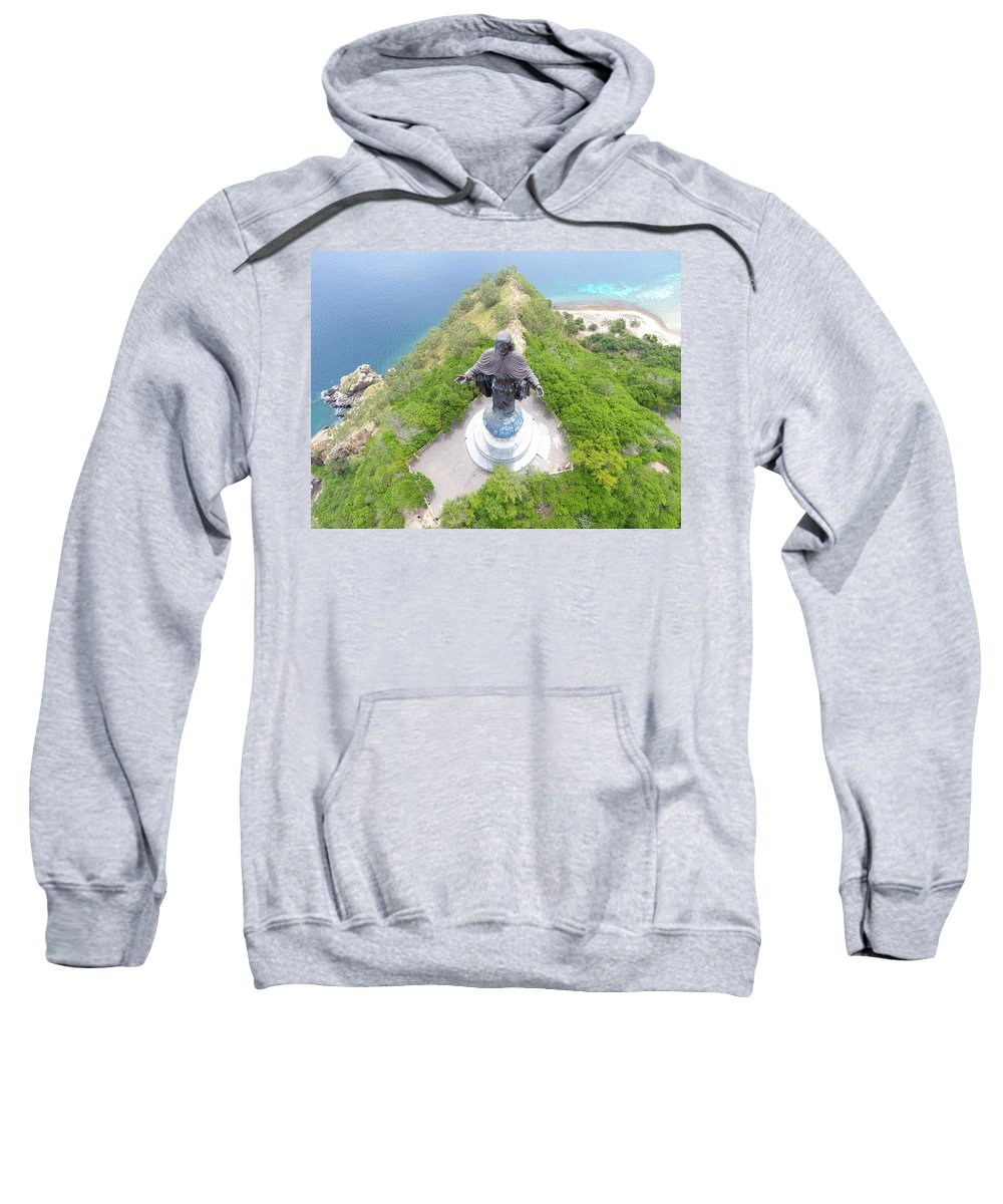 Travel Sweatshirt featuring the photograph Cristo Rei of Dili statue of Jesus by Brthrjhn2099