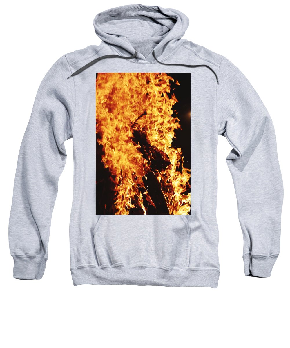 Campfire Sweatshirt featuring the photograph Closeup of Fire at time of festival by Ravindra Kumar