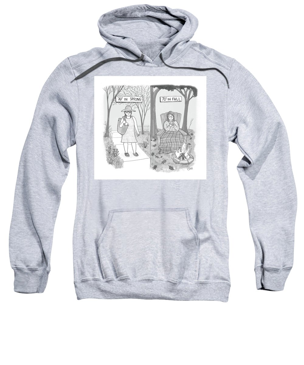Captionless Sweatshirt featuring the drawing 70 Degrees Spring Or Fall by Caitlin Cass