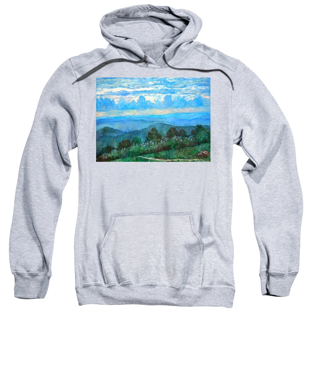 Landscape Sweatshirt featuring the painting A Path to Rock Castle Gorge in the Evening by Kendall Kessler