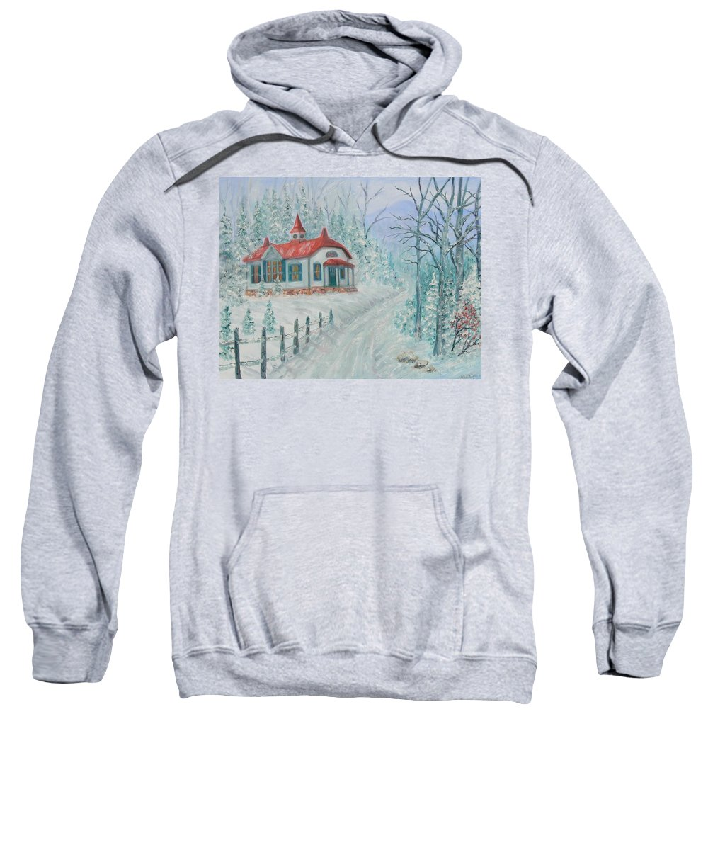 Christmas Scene Sweatshirt featuring the painting A Winters Day by Ben Kiger