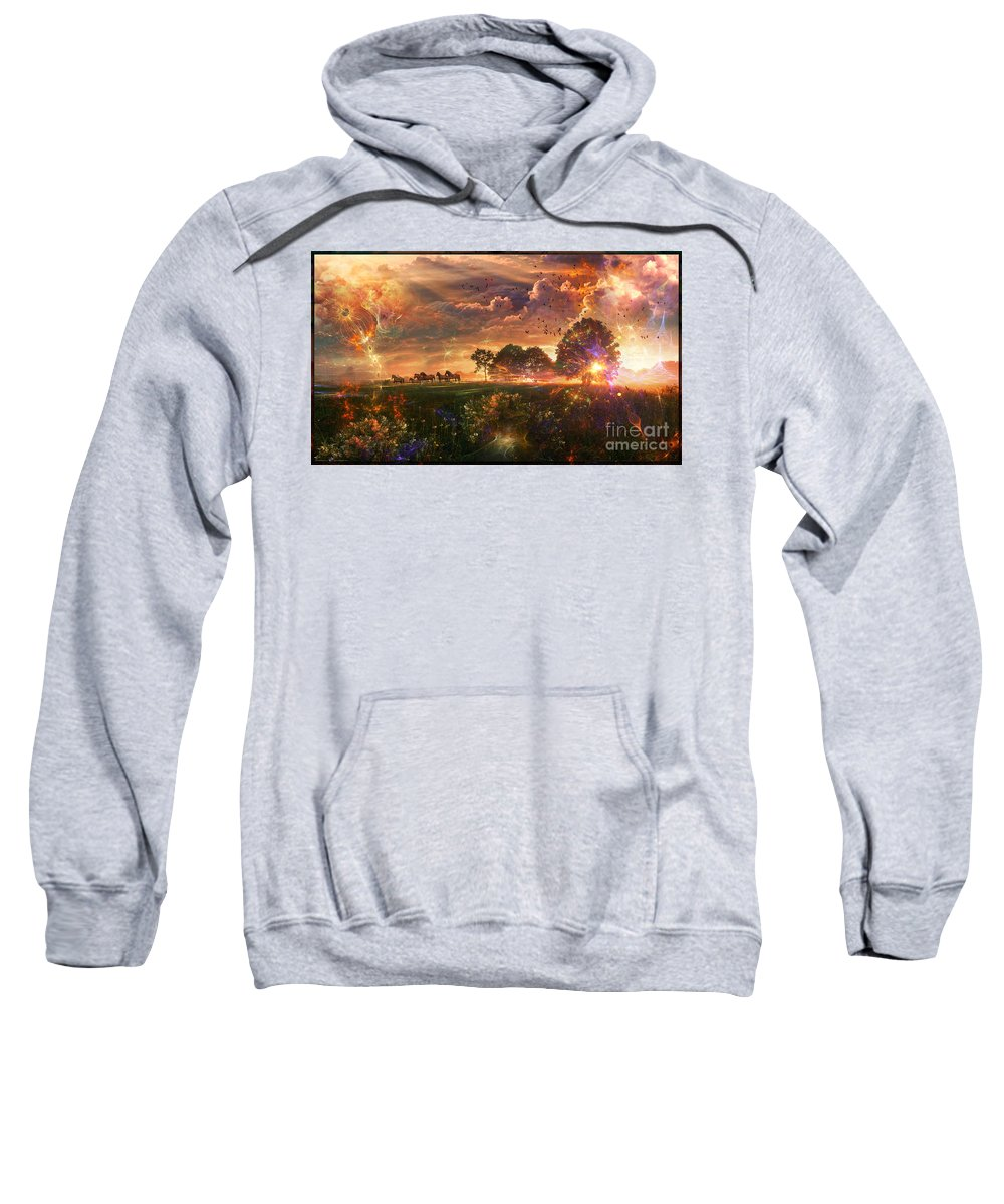 Surreal Landscape Sweatshirt featuring the digital art After Earth-III- Digital Artwork by Leonard Rubins