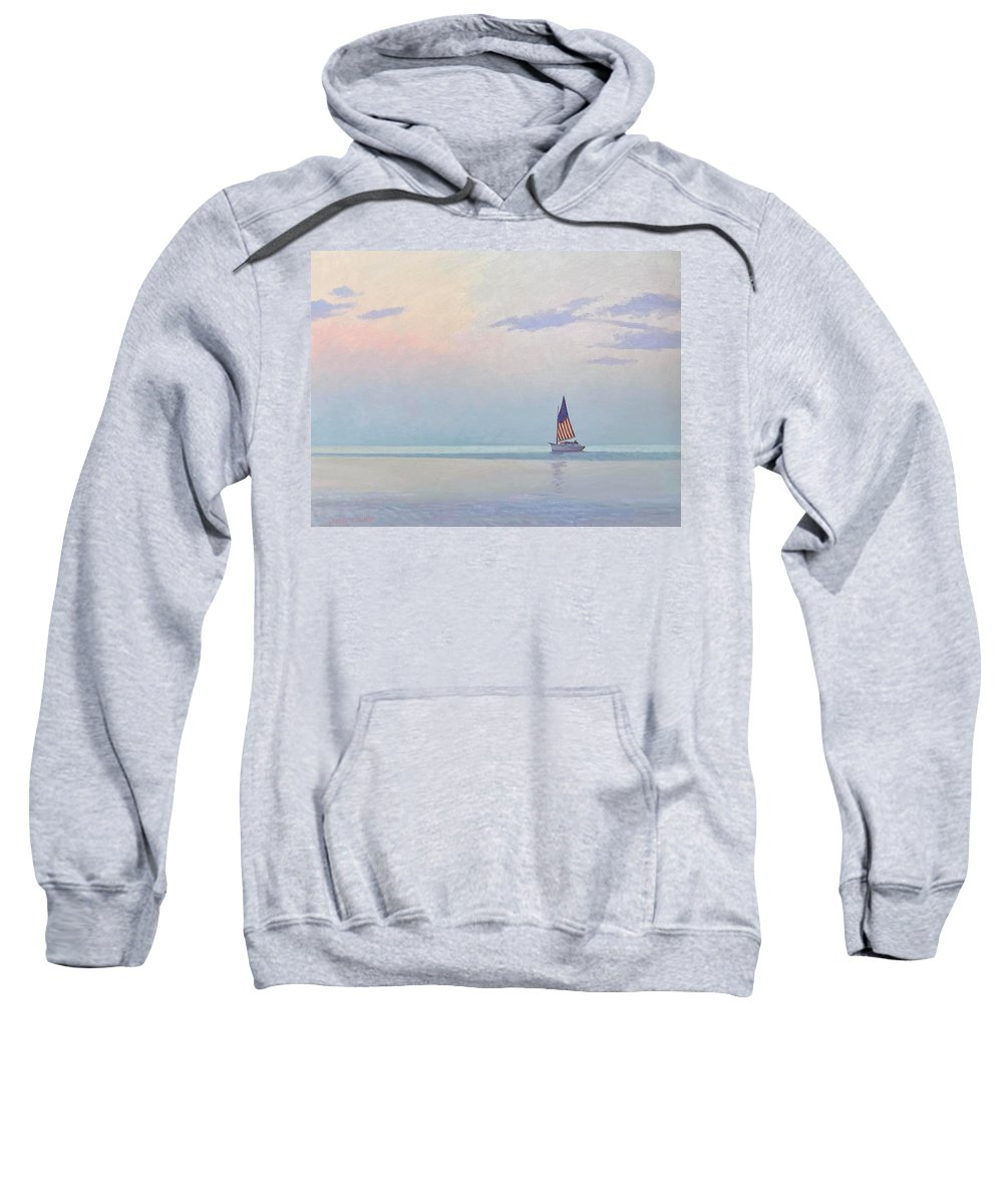 Sailboat Sweatshirt featuring the painting America the Beautiful by Dianne Panarelli Miller