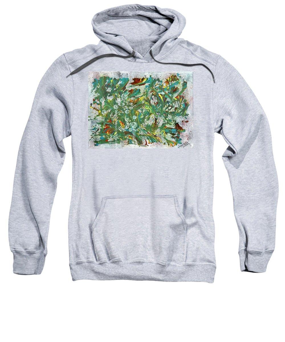 Aquatic Sweatshirt featuring the painting Aquatic Blotter Flashback by Kathy Marrs Chandler