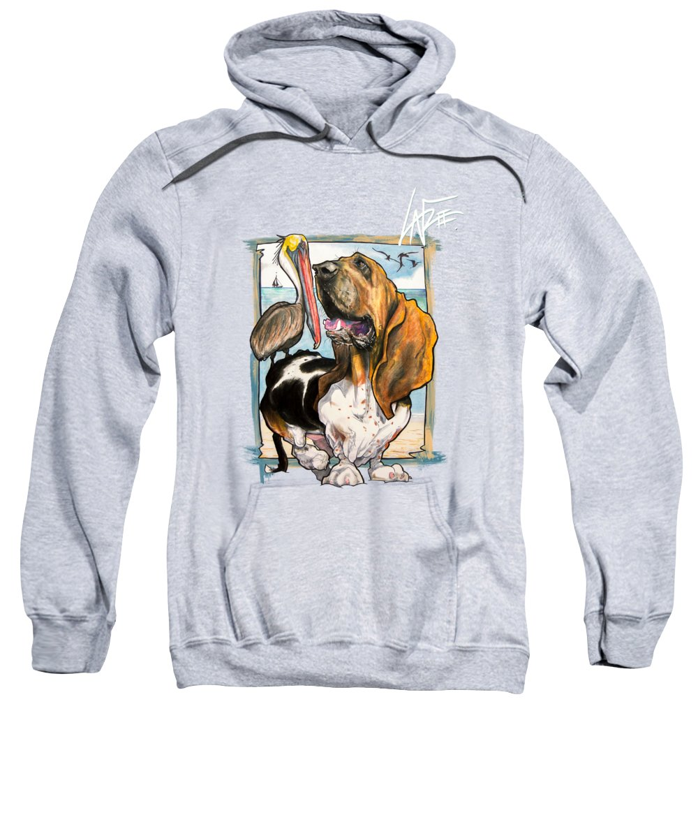 Basset Hound Sweatshirt featuring the drawing Basset on the Beach by Canine Caricatures Custom Merchandise