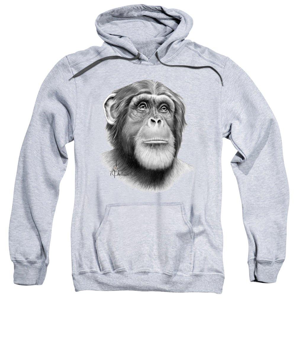 Pencil Sweatshirt featuring the drawing Astrochimp Ham drawing by Murphy Art Elliott