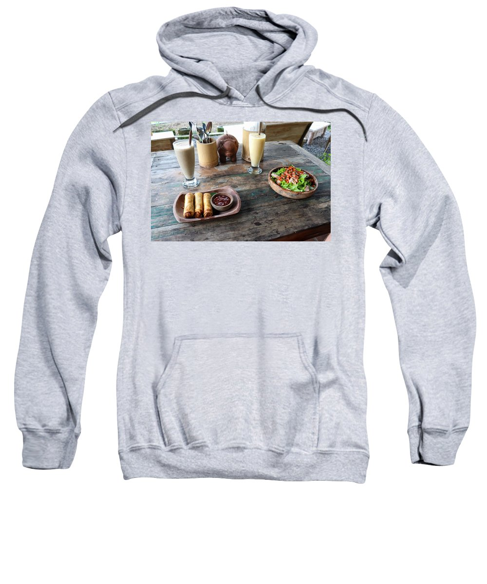 Indonesia Sweatshirt featuring the digital art Balinese dinner by Worldvibes1