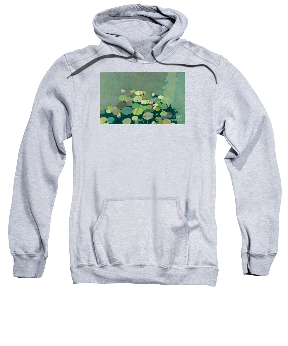 Landscape Sweatshirt featuring the painting Bettys Serenity Pond by Allan P Friedlander