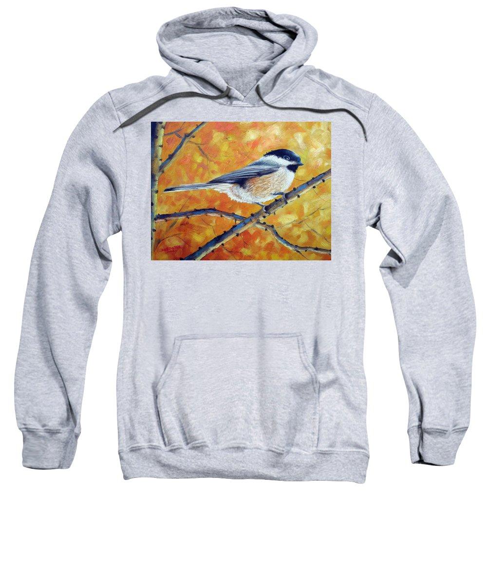 Chickadee Sweatshirt featuring the painting Black-Capped Chickadee by David G Paul