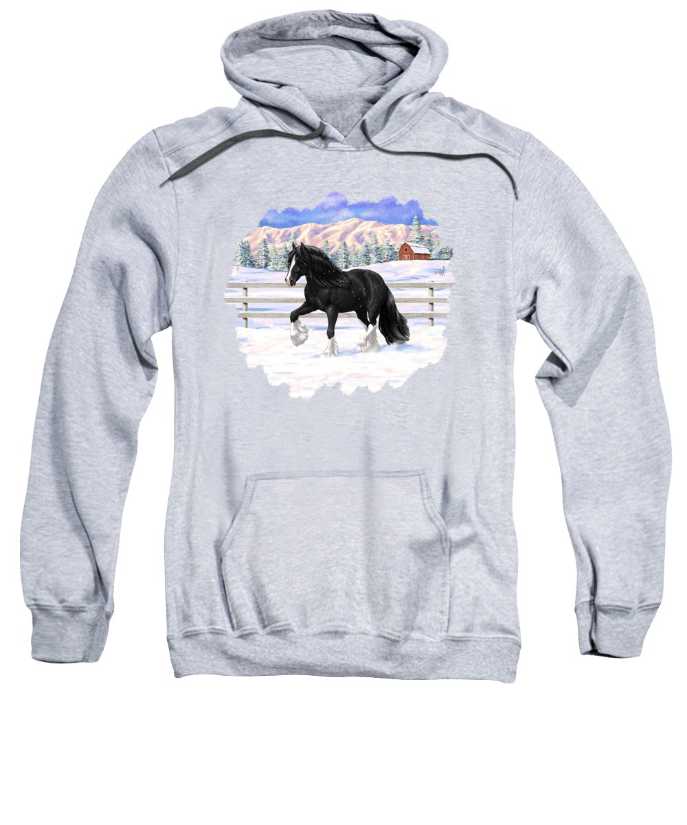 Horses Sweatshirt featuring the painting Black Gypsy Vanner Irish Cob Tinker Draft Horse In Snow by Crista Forest