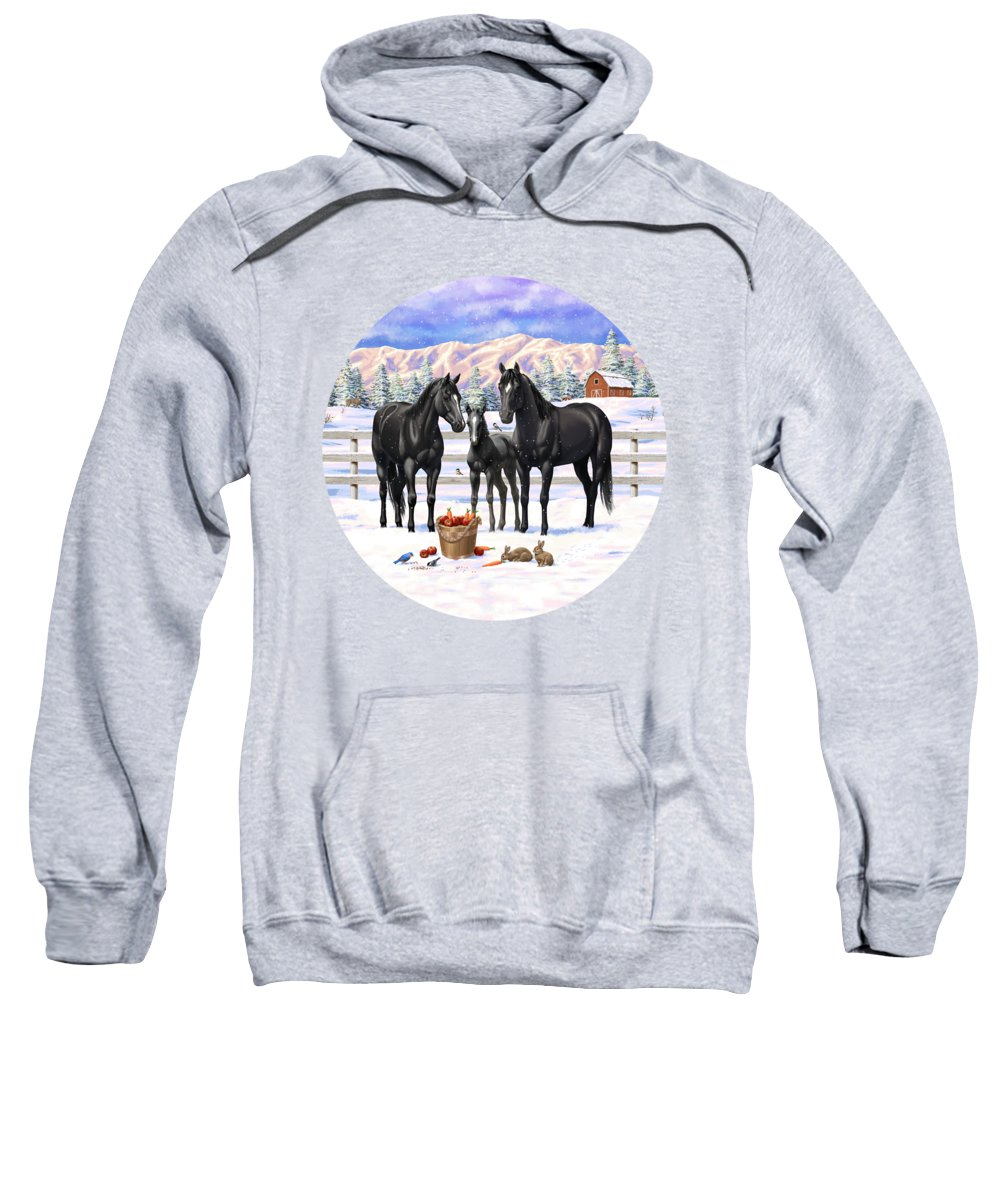 Horses Sweatshirt featuring the painting Black Quarter Horses In Snow by Crista Forest