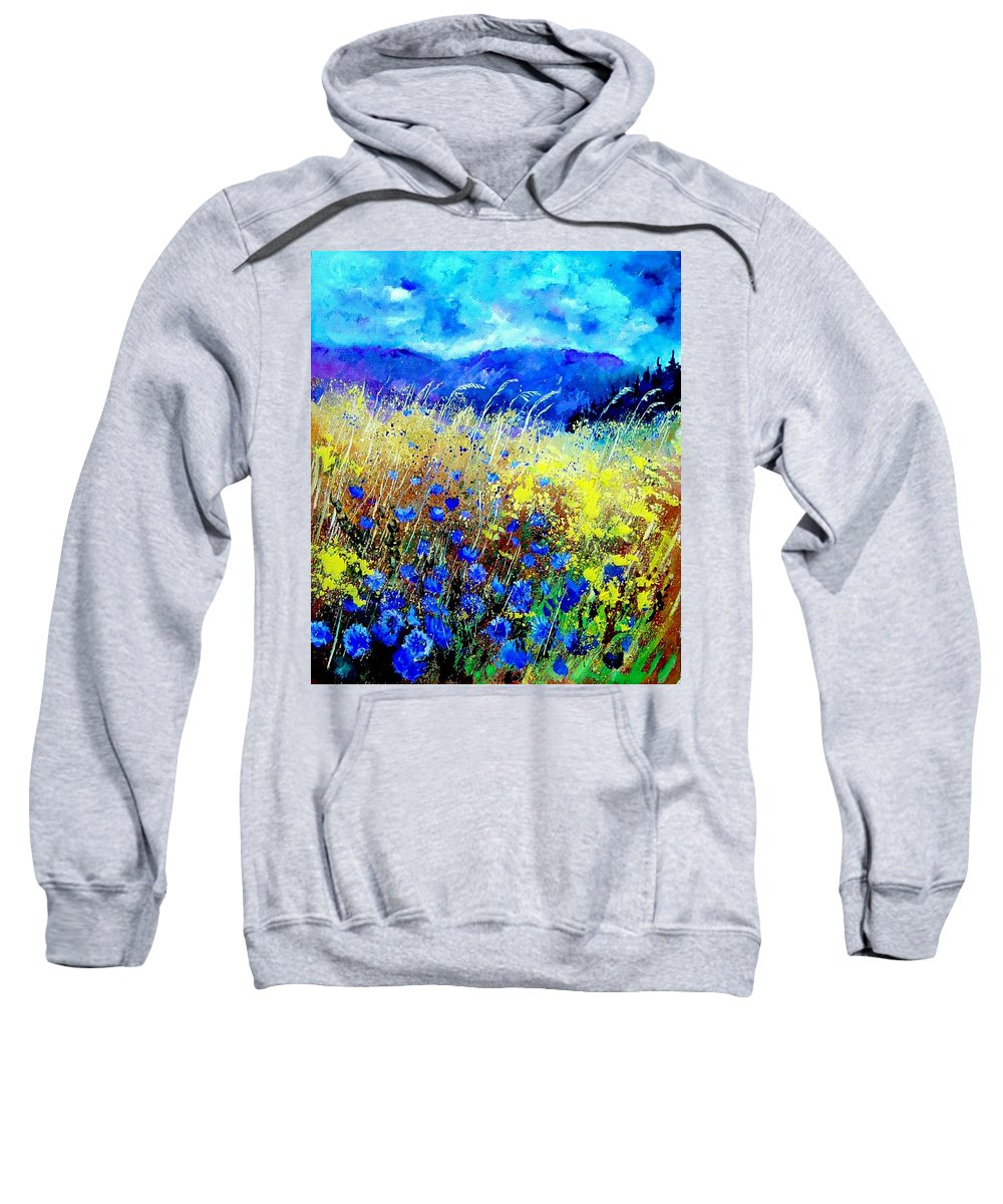 Poppies Sweatshirt featuring the painting Blue cornflowers 67 by Pol Ledent