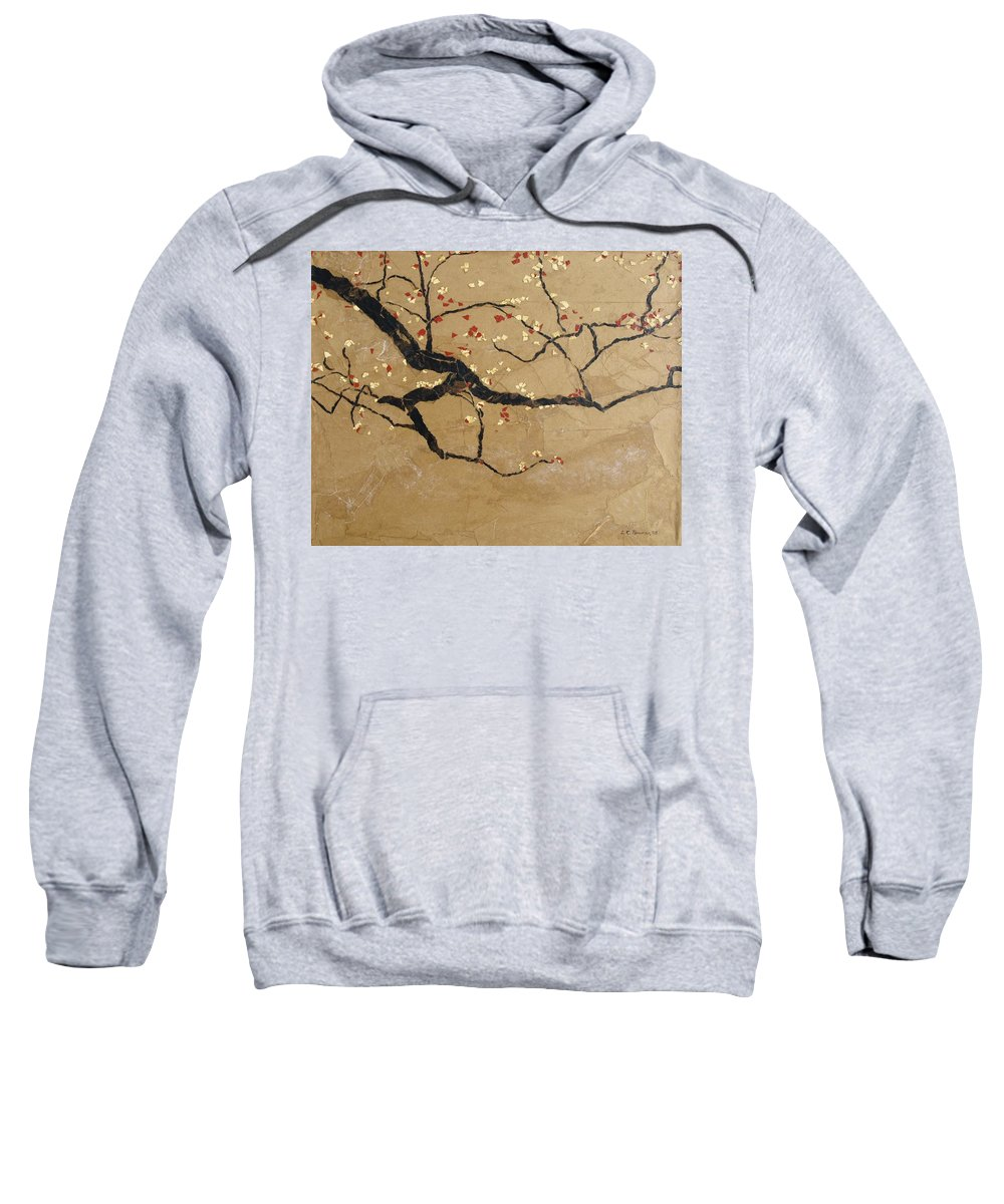 Blooming Branch Sweatshirt featuring the painting Branch by Leah Tomaino