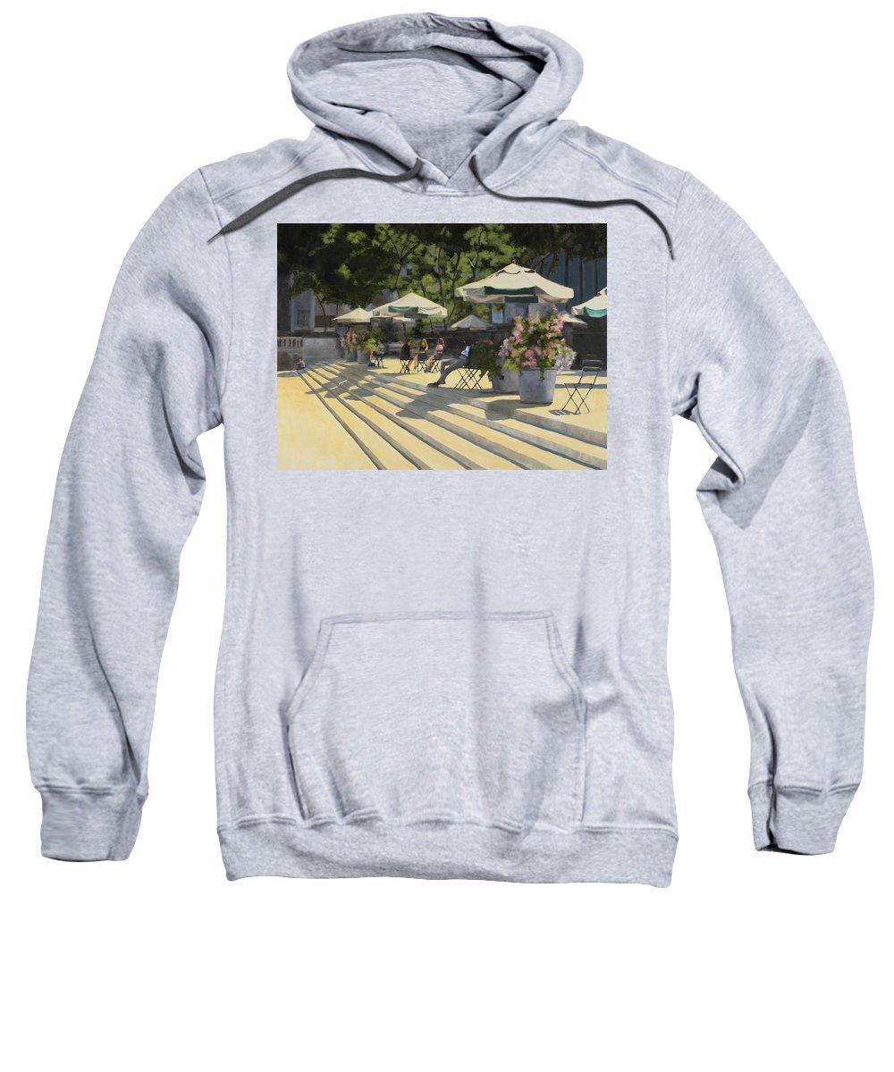 Park Sweatshirt featuring the painting Bryant Park Sunshine by Tate Hamilton