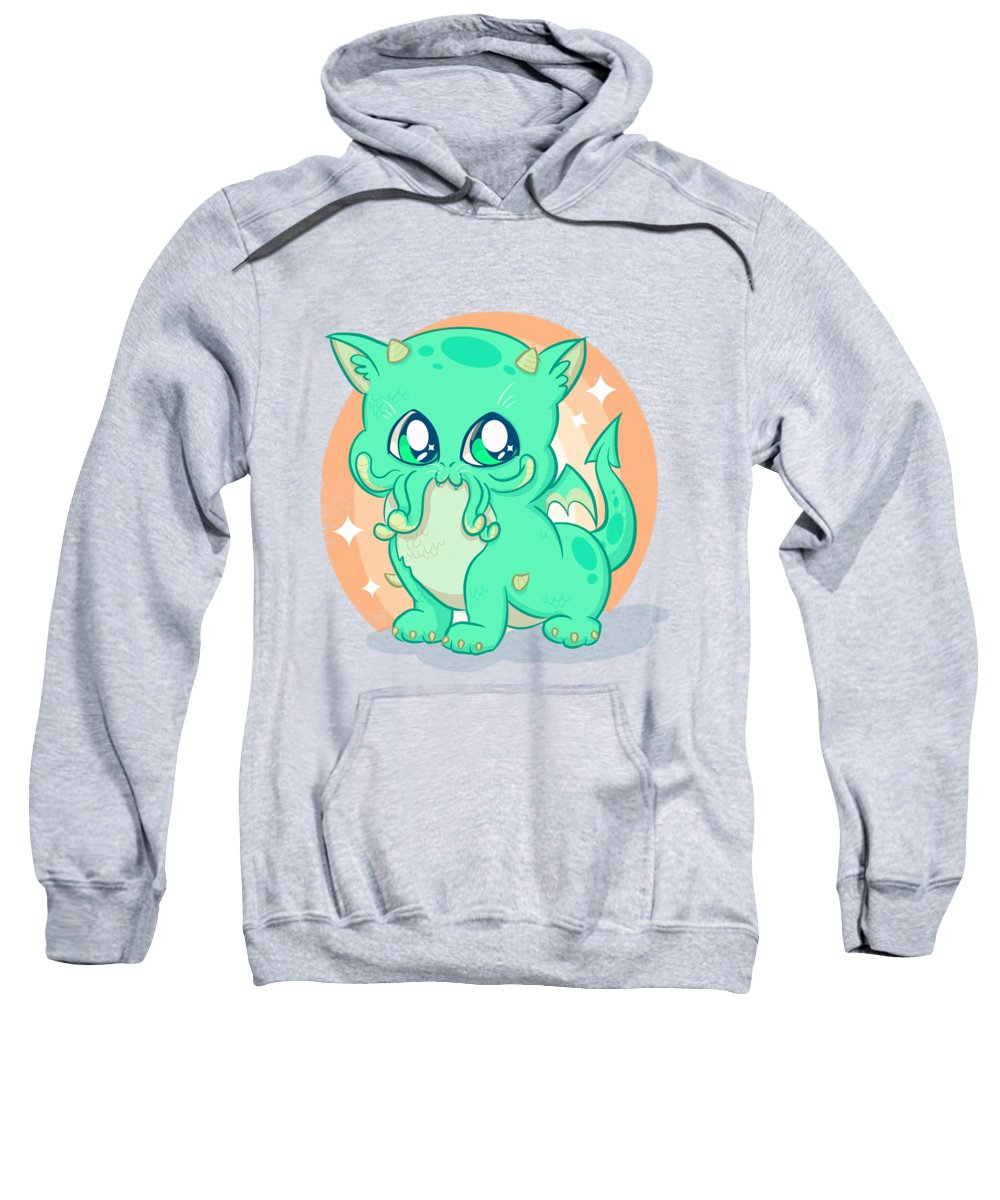 Lovecraft Sweatshirt featuring the drawing Cat-thulu by Ludwig Van Bacon