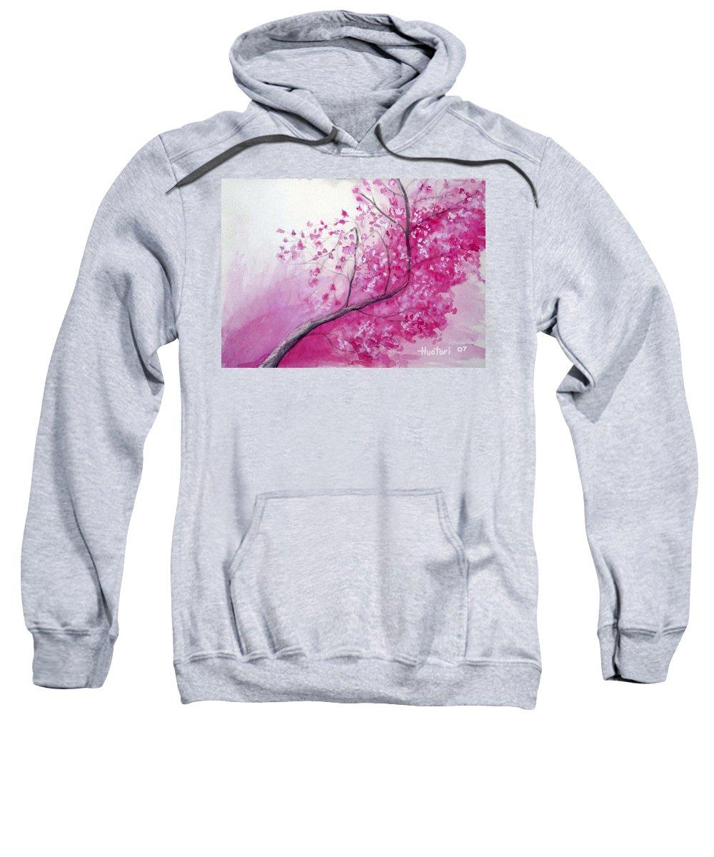 Rick Huotari Sweatshirt featuring the painting Cherry Tree In Bloom by Rick Huotari