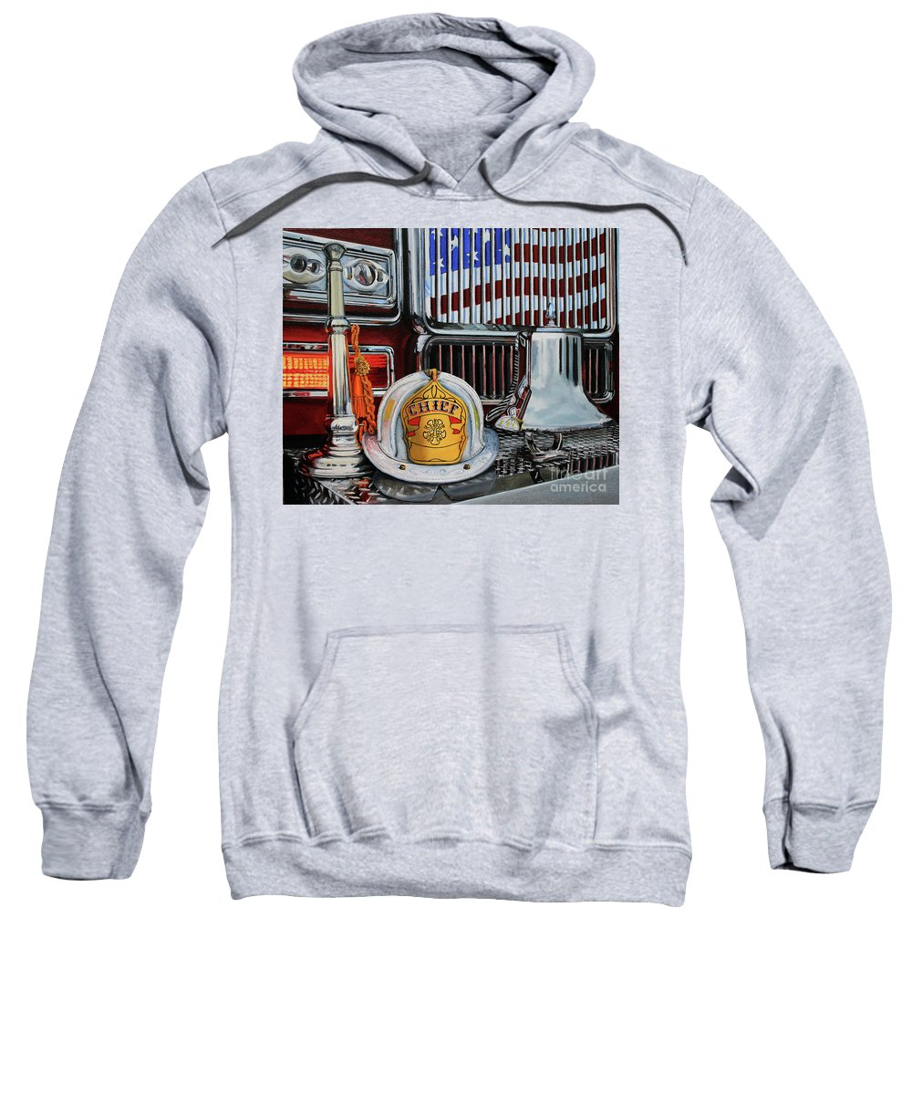 Fdny Sweatshirt featuring the painting Chief's Trumpet by Paul Walsh