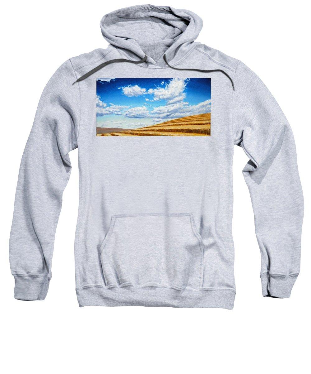 Palouse Sweatshirt featuring the painting Clouds on the Palouse near Moscow Idaho by Leonard Heid