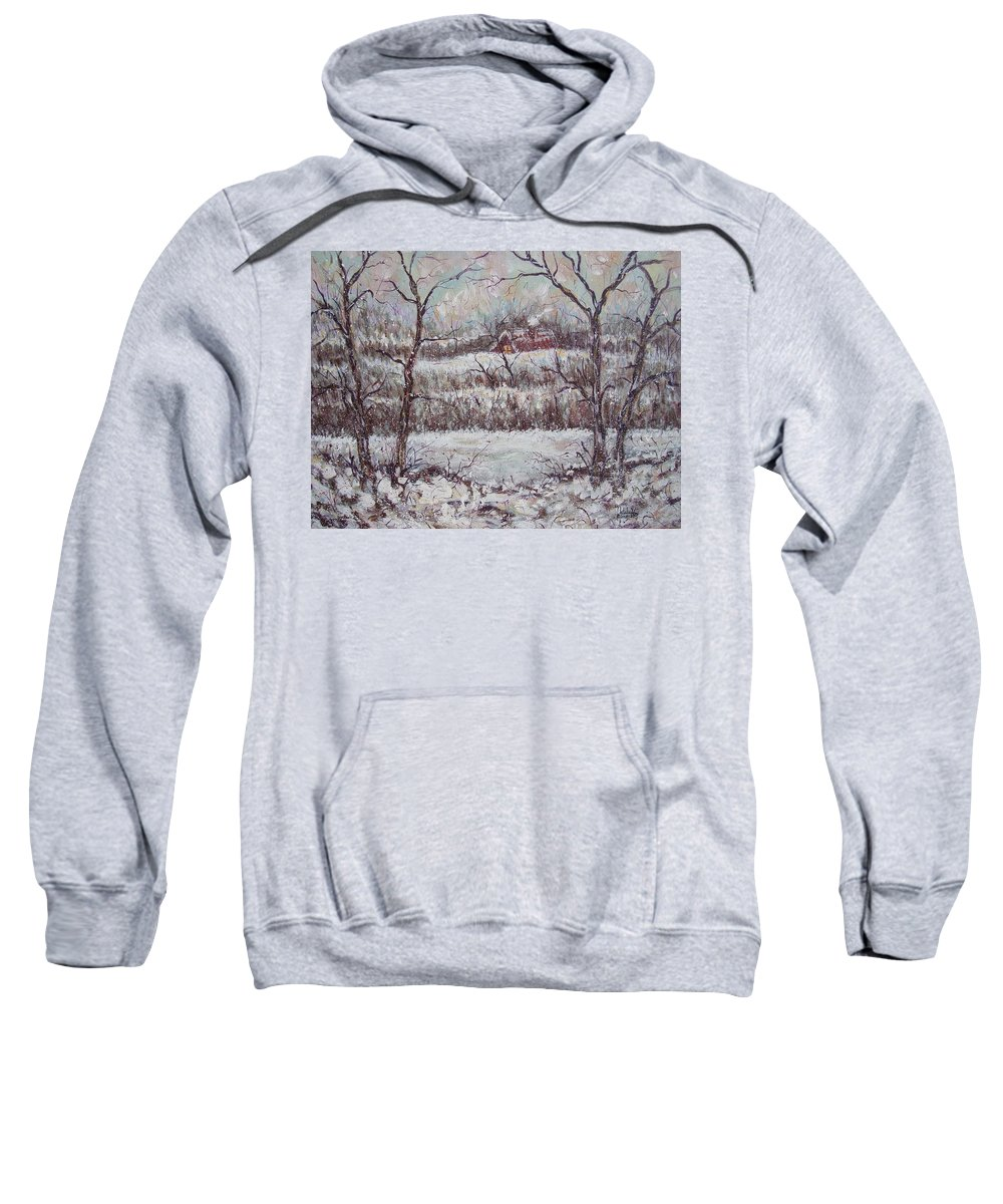 Landscape Sweatshirt featuring the painting Cold Winter by Natalie Holland