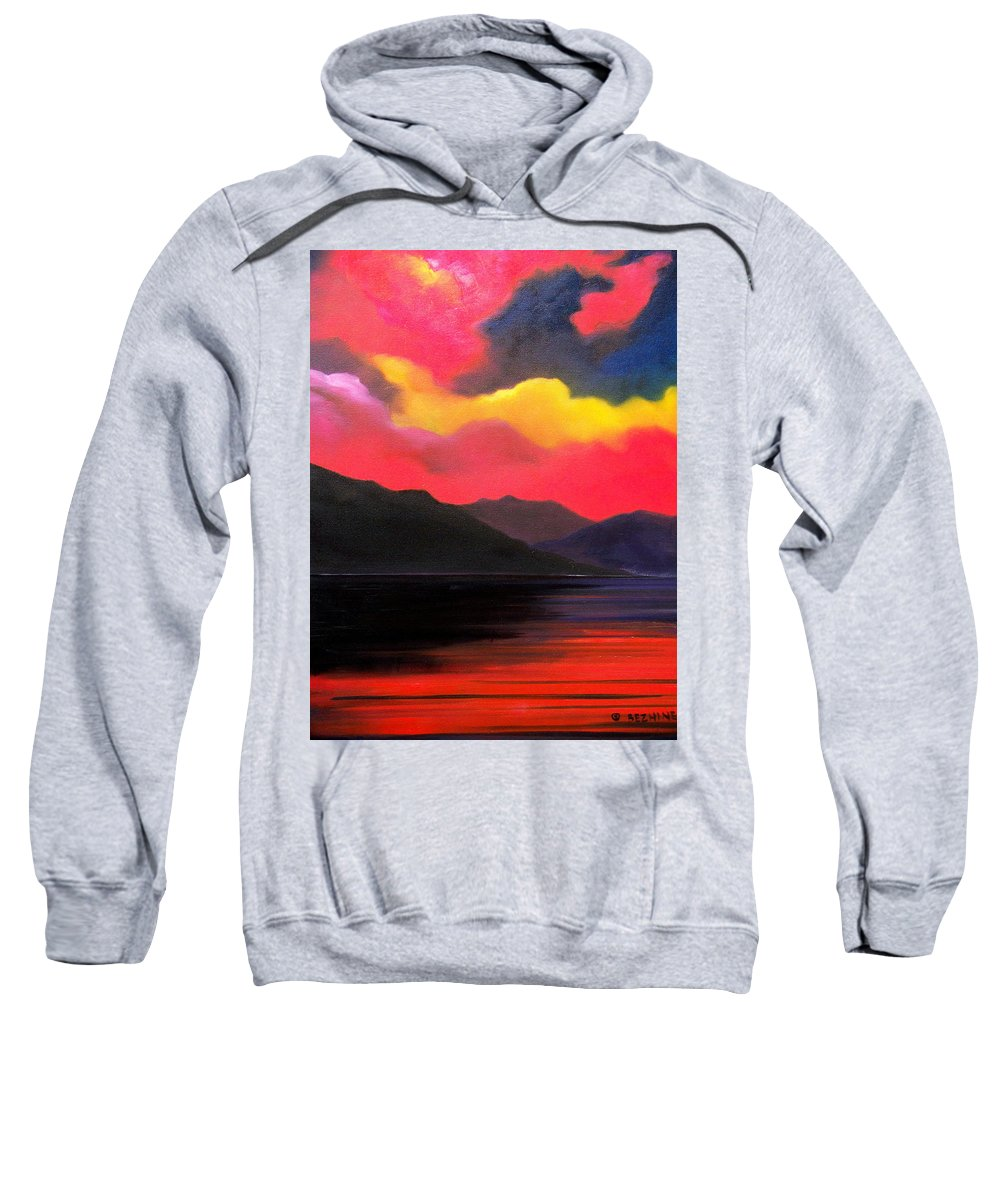 Surreal Sweatshirt featuring the painting Crimson clouds by Sergey Bezhinets