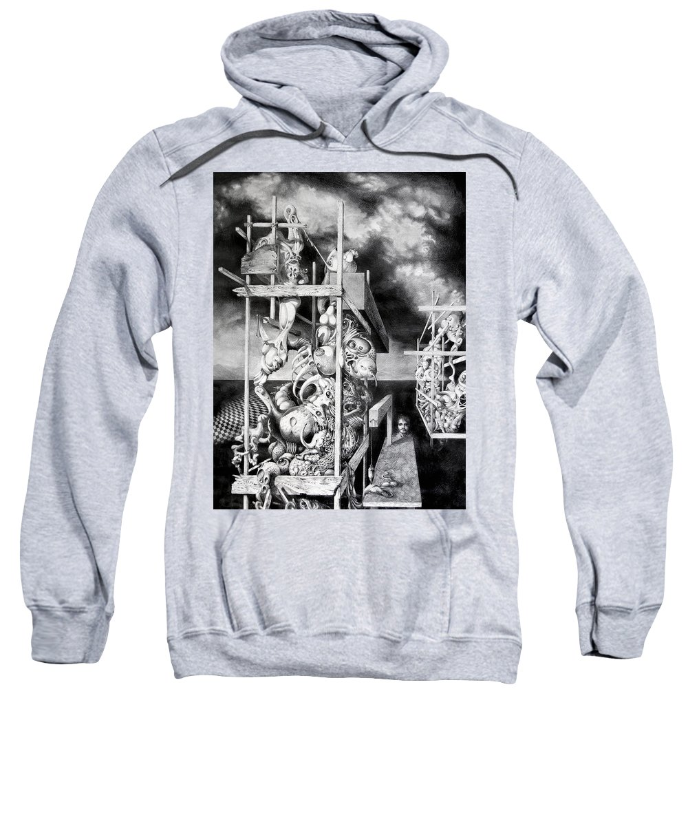 Surrealism Sweatshirt featuring the drawing Cthulhu Monuments by Otto Rapp