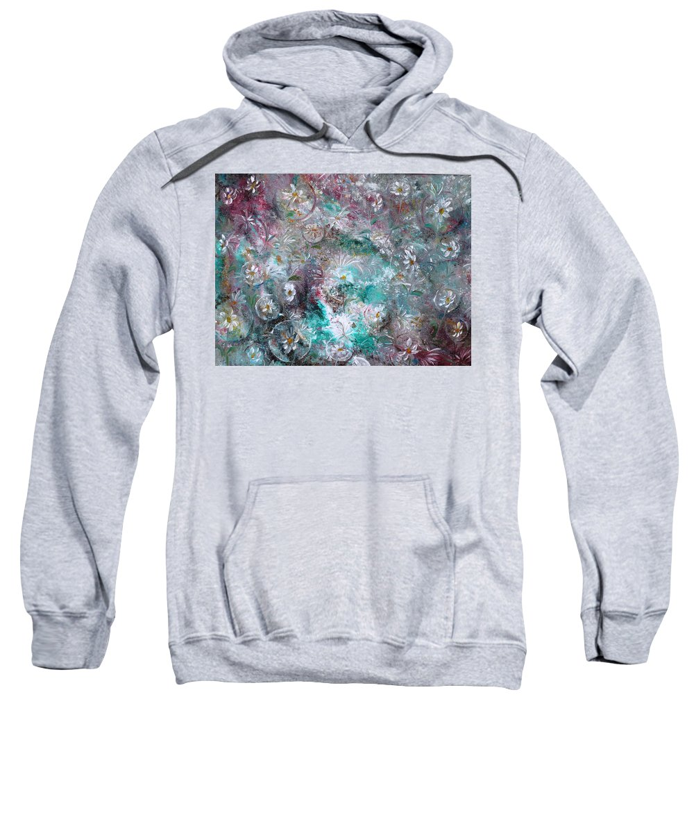 Original Flower Abstract Painting Sweatshirt featuring the painting Daisy Dreamz by Karin Dawn Kelshall- Best