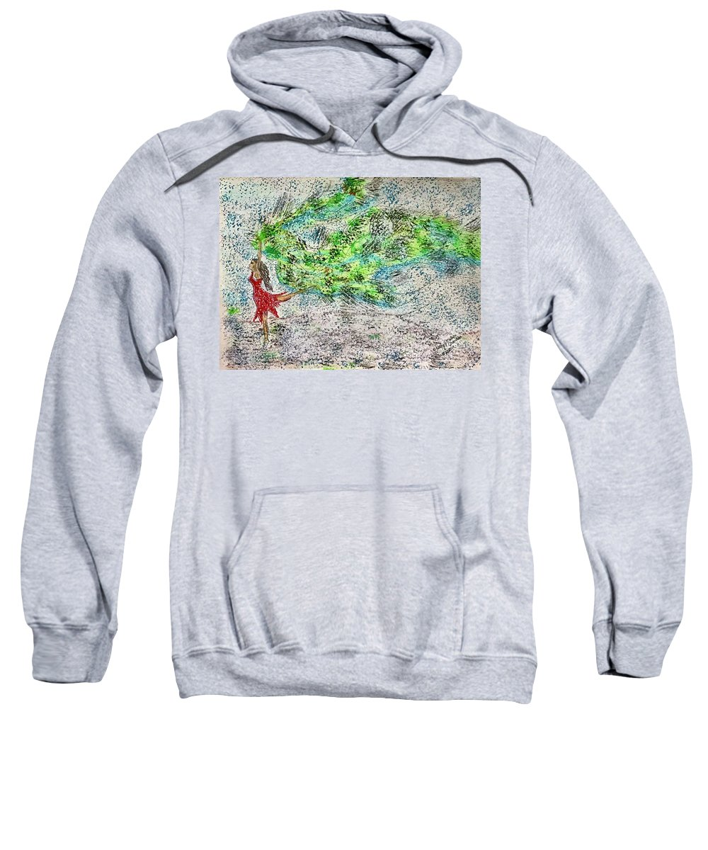 Dancing Sweatshirt featuring the painting Dancing in The Blizzard by Kathy Marrs Chandler