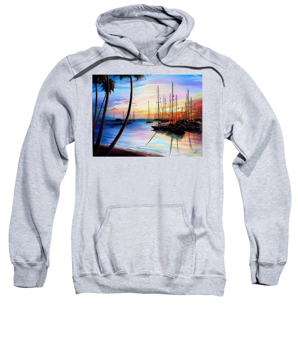 Ocean Painting Seascape Yacht Painting Sailboat Painting Sunset Painting Tropical Painting Caribbean Painting Yacht Painting At The End Of A Yachting Regatta At Pigeon Point Tobago Painting Sweatshirt featuring the painting DAYS END Yachting Regatta At Pigeon Point Tobago by Karin Dawn Kelshall- Best