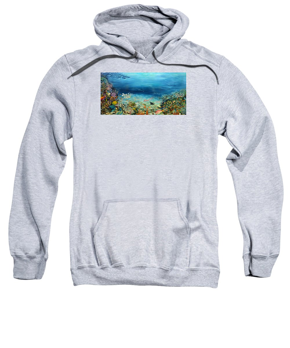 Ocean Painting Undersea Painting Coral Reef Painting Caribbean Painting Calypso Reef Painting Undersea Fishes Coral Reef Blue Sea Stingray Painting Tropical Reef Painting Tropical Painting Sweatshirt featuring the painting Deep Blue Dreaming by Karin Dawn Kelshall- Best