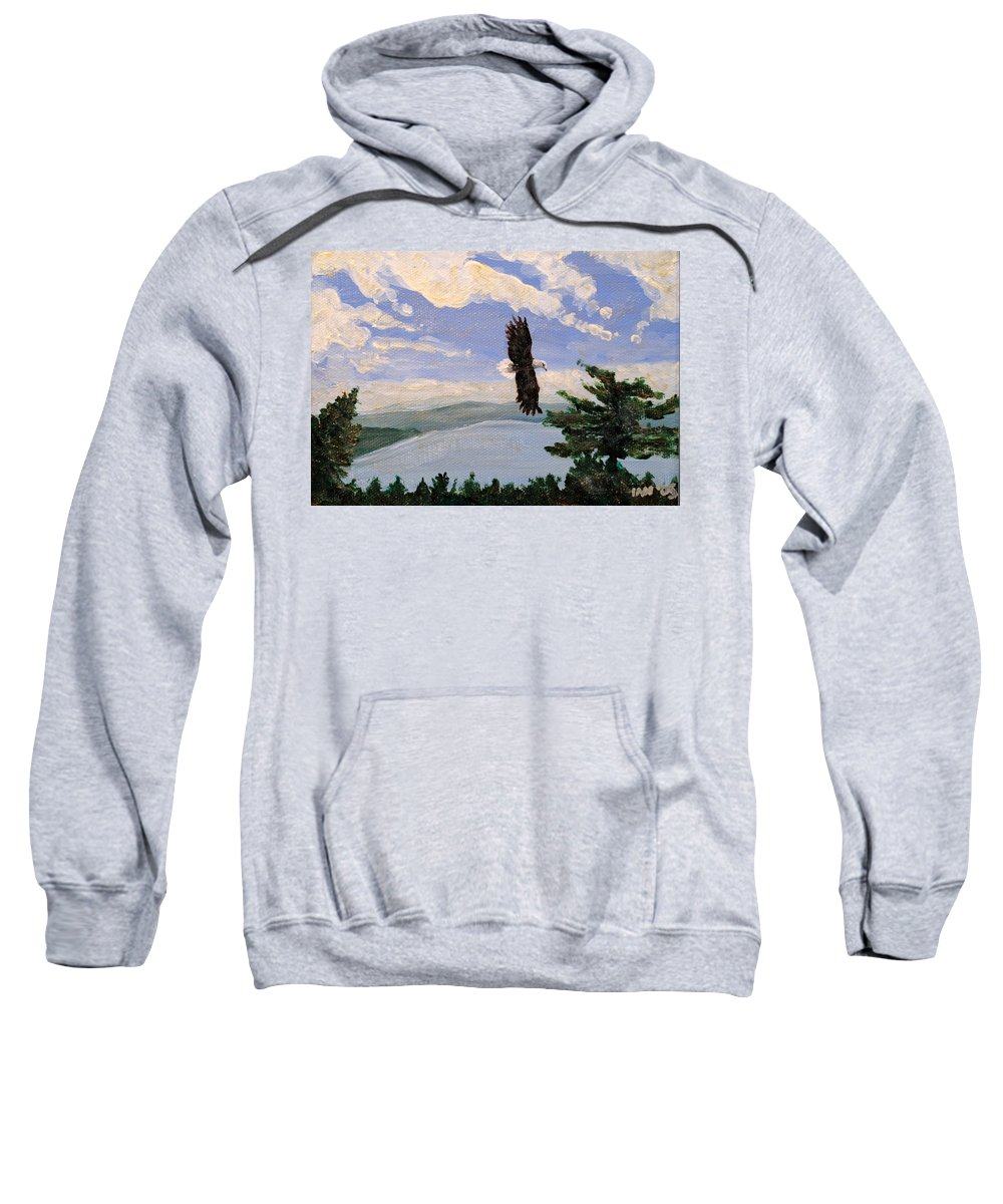 Bald Headed Eagle Sweatshirt featuring the painting Eagles Fly Over Lake Huron by Ian MacDonald