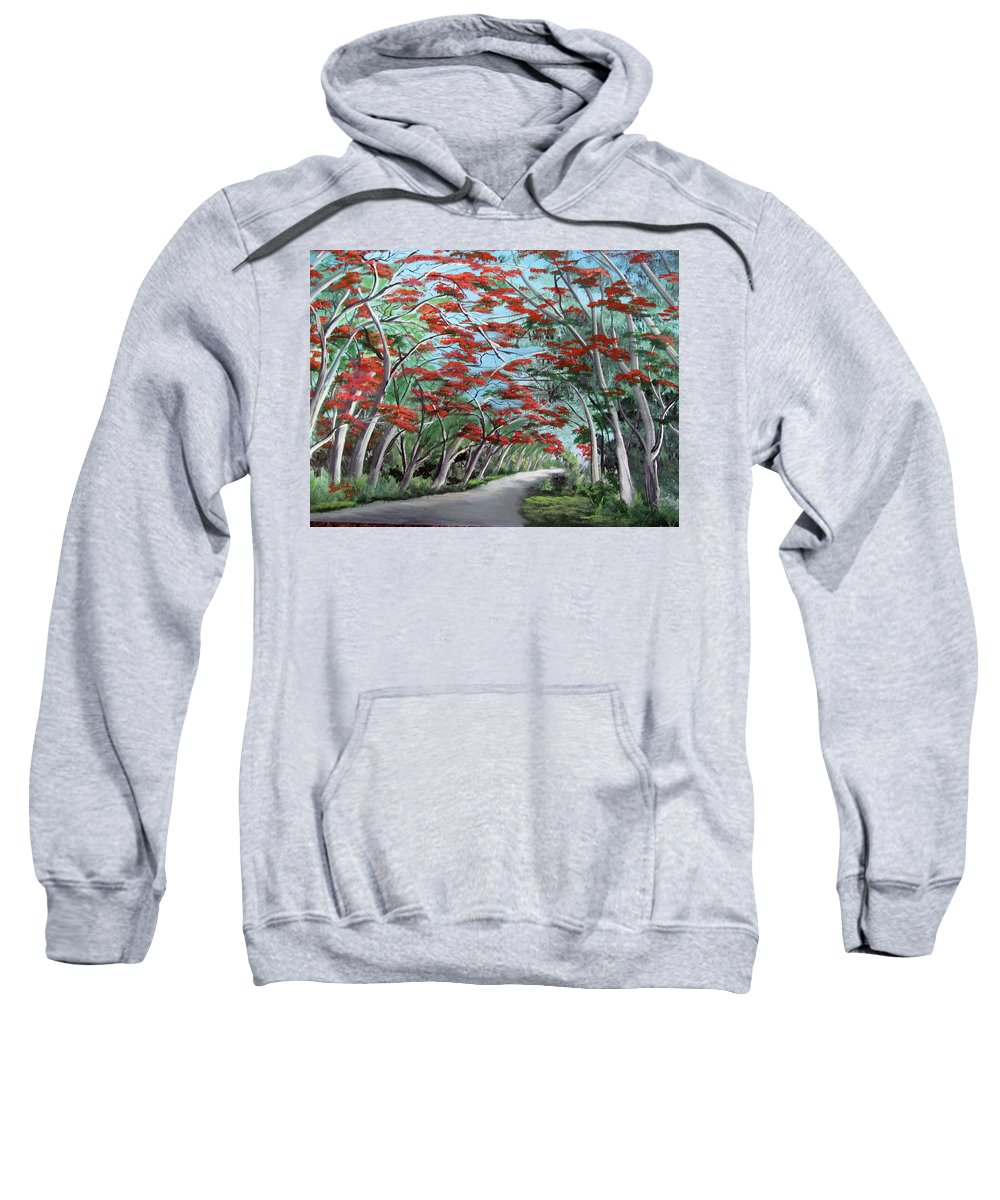 Flamboyan Sweatshirt featuring the painting Flamboyanes by Luis F Rodriguez