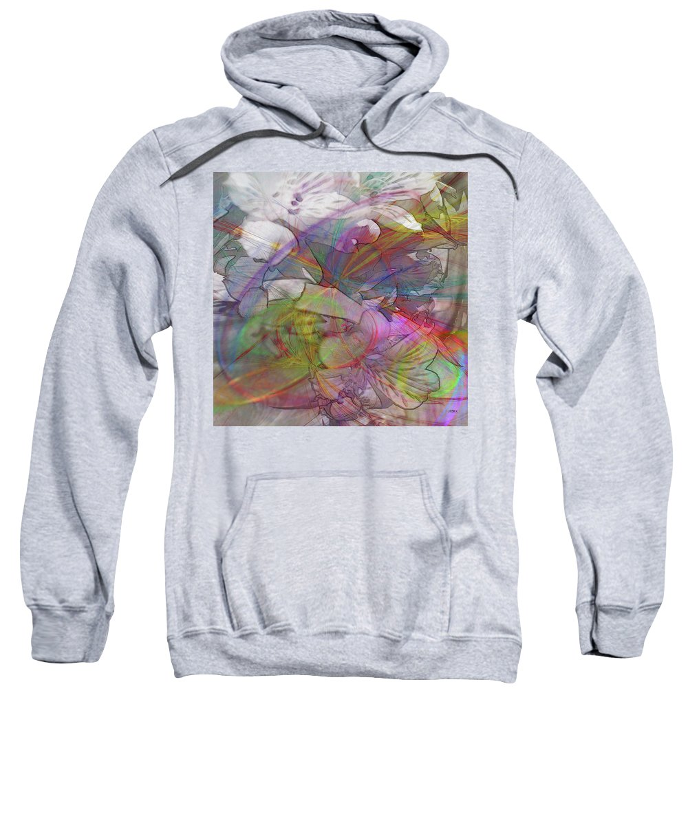 Floral Sweatshirt featuring the digital art Floral Fantasy - Square Version by Studio B Prints