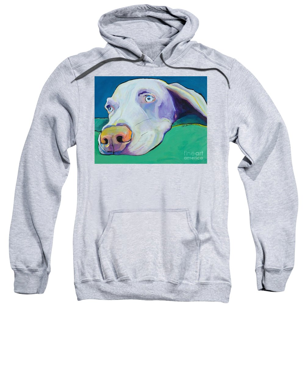 Pat Saunders-white Sweatshirt featuring the painting Fritz by Pat Saunders-White