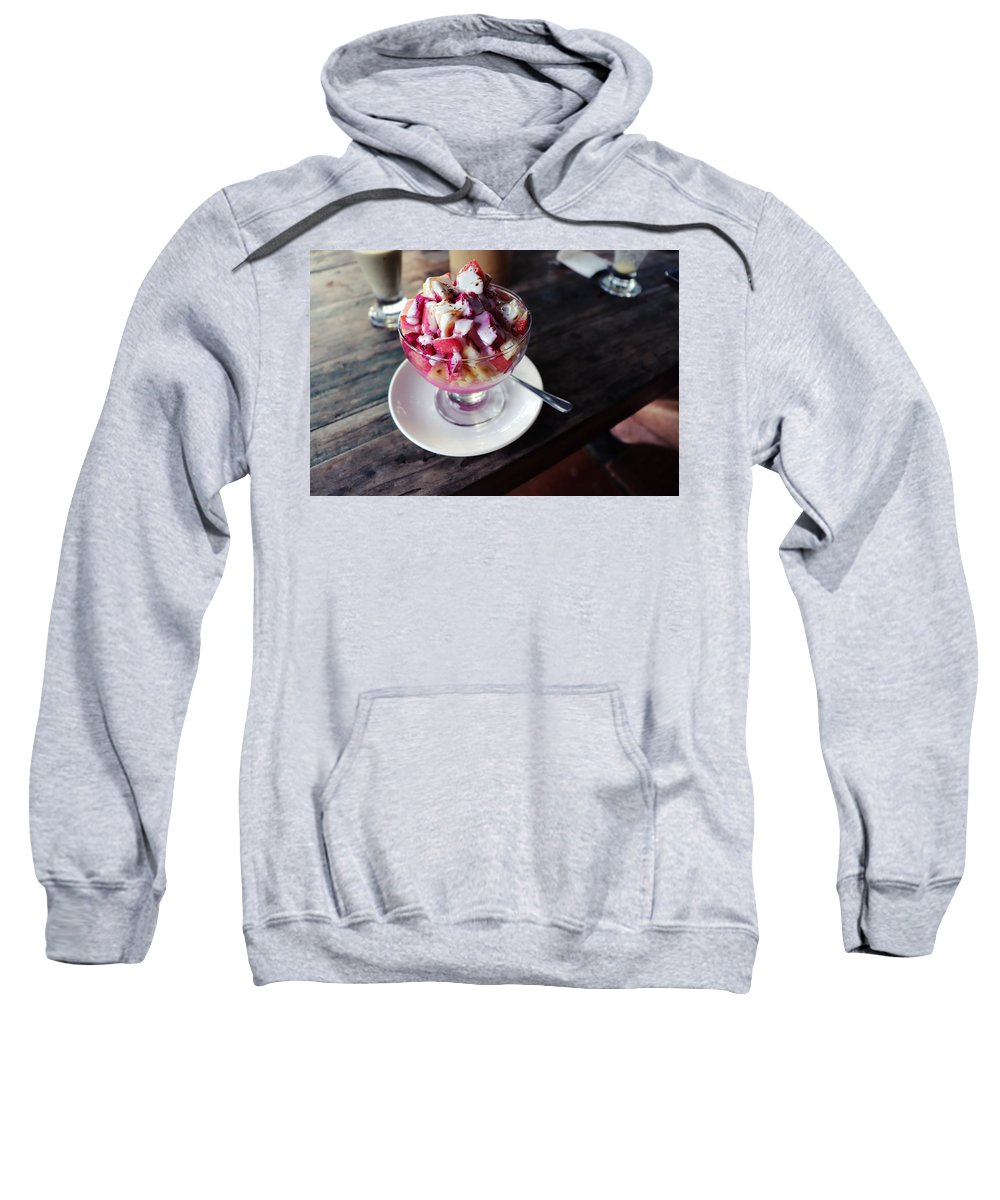 Fruit Sweatshirt featuring the digital art Fruity dessert with white cream by Worldvibes1