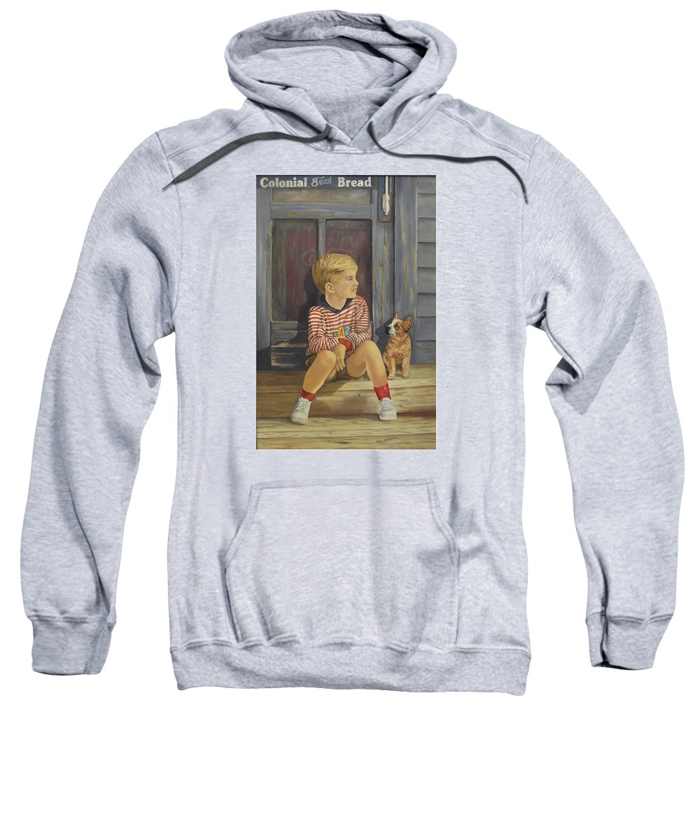 A Young Boy And His Dog Sweatshirt featuring the painting Grandpas Country Store by Wanda Dansereau