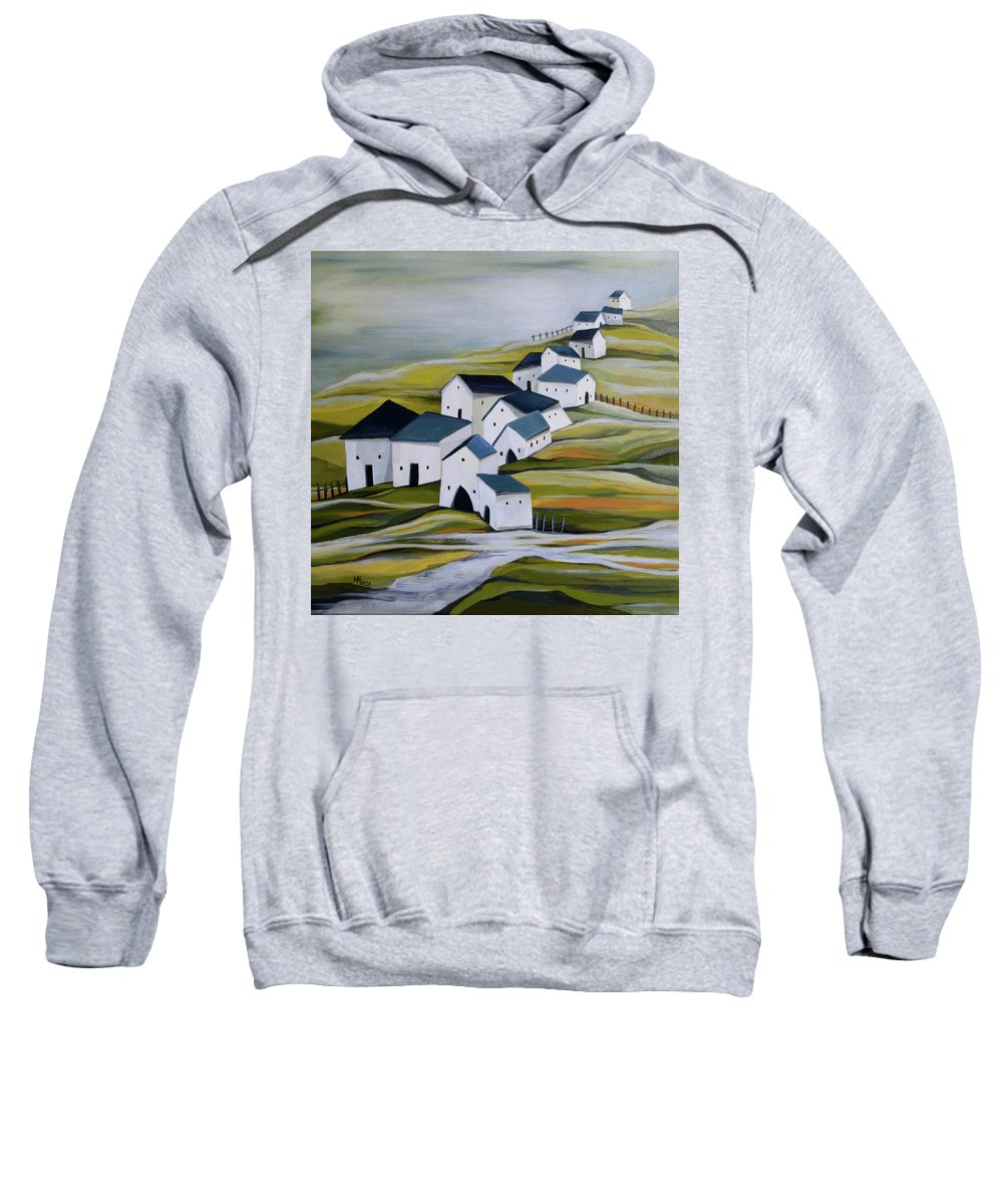 Semi-abstract Landscape Sweatshirt featuring the painting Grandma's village by Aniko Hencz
