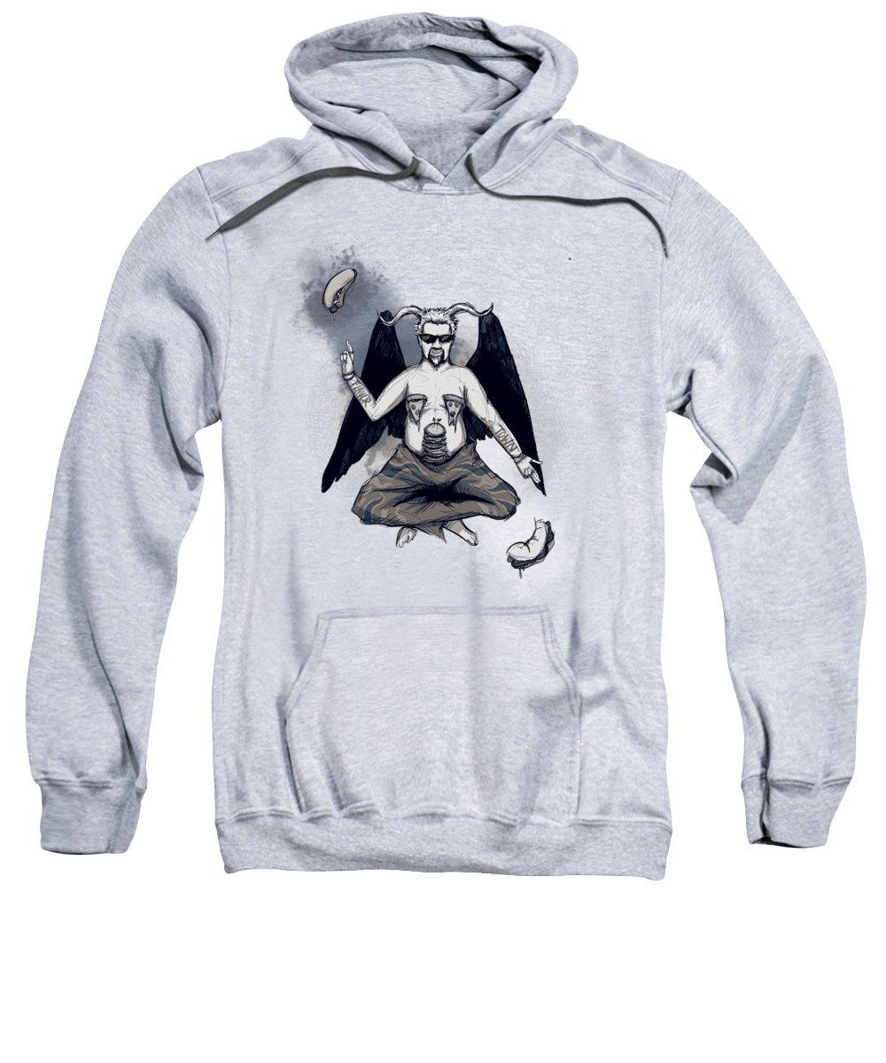 Fieri Sweatshirt featuring the drawing GuyPhomet by Ludwig Van Bacon