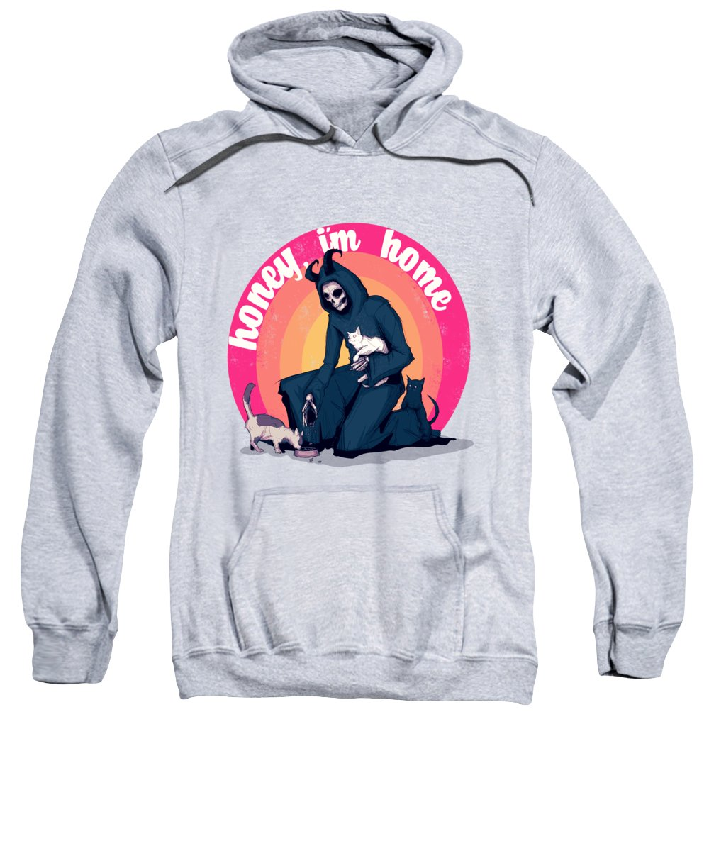 Cat Sweatshirt featuring the drawing Honey, I'm Home by Ludwig Van Bacon
