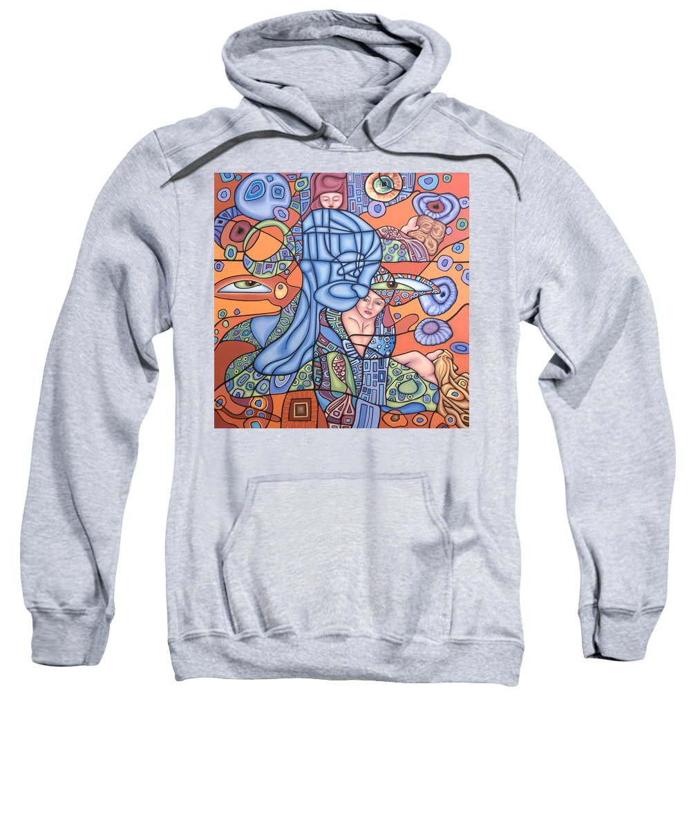 Mermaid Sweatshirt featuring the painting I See You by Judy Henninger