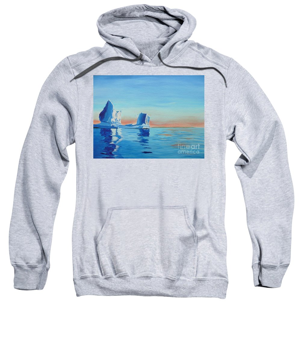 Iceberg Sweatshirt featuring the painting Ice Island by Anthony Dunphy