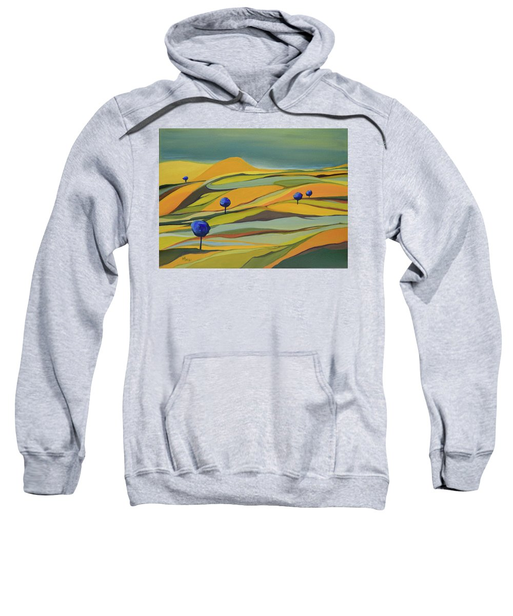 Blue Trees Sweatshirt featuring the painting Land of the Blue Trees by Aniko Hencz