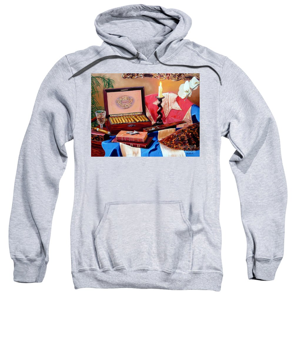 Cuban Art Sweatshirt featuring the painting Legacy Of Pleasures by Jose Manuel Abraham
