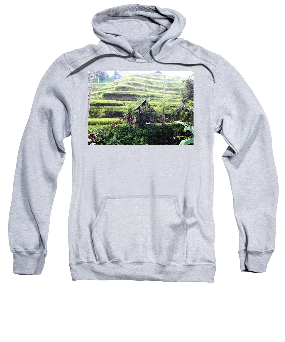 Hut Sweatshirt featuring the digital art Little hut surrounded by flowers by Worldvibes1